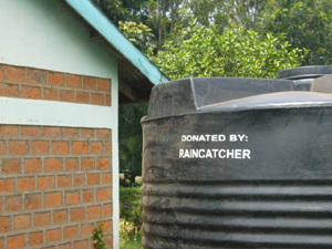 An example of the tanks that are donated by Raincatcher Africa to each school, they can hold up to 6000 liters of rainwater for human consumption. Photo Credit: Jack Rose